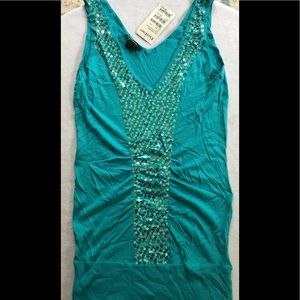 Bebe tunic tank with sequins